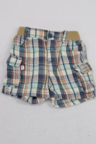 Ackermans Blue & Beige Plaid Cargo Shorts Boys 0-3 months