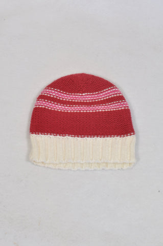 Pumpkin Patch Cerise & Pink Stripe Beanie Girls 3-6 months