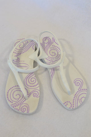 Havaianas White Purple Detail Sandals Women Size 5