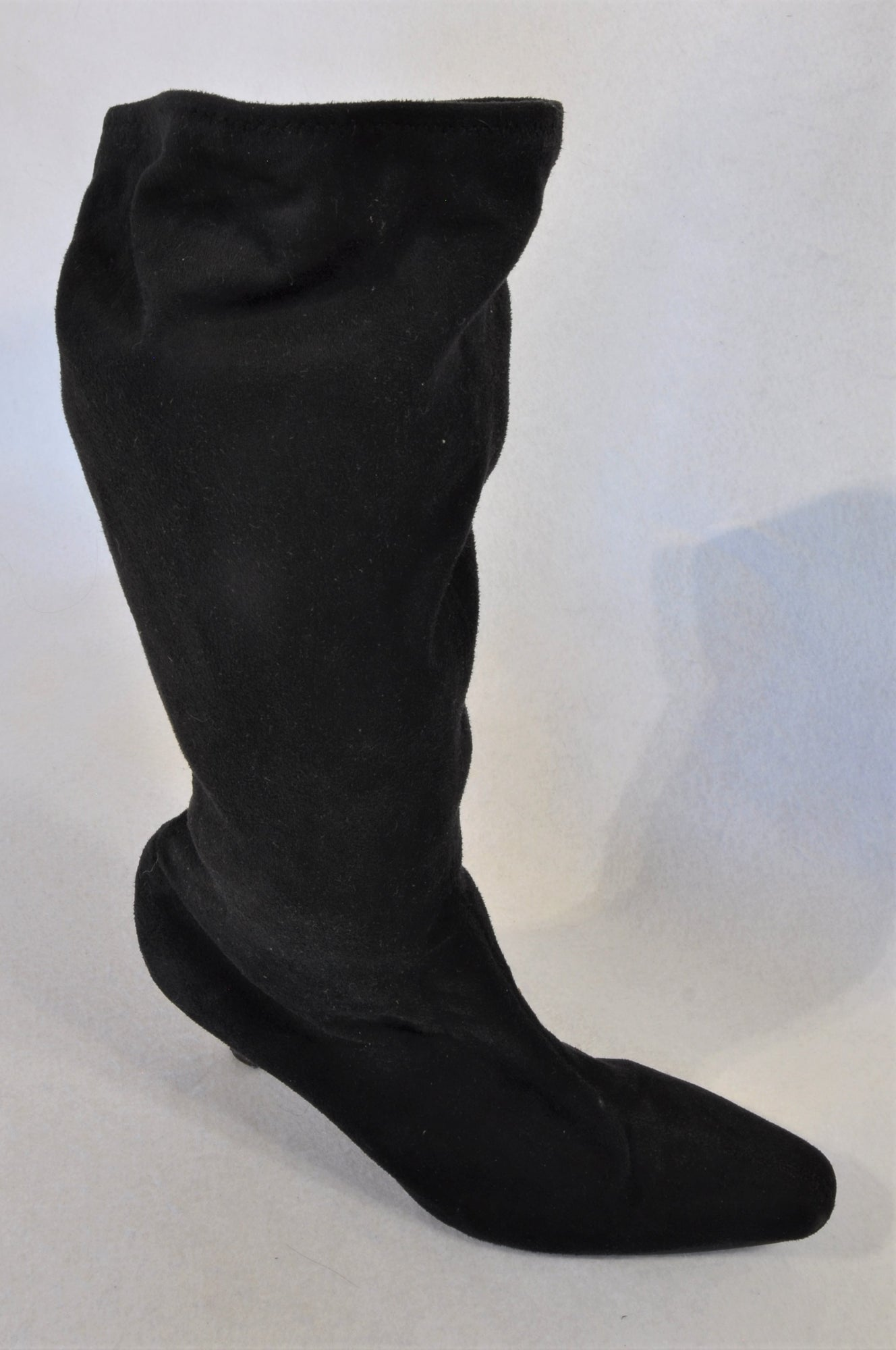 Unbranded Black Stretch Suede Heeled Boots Women Size 7