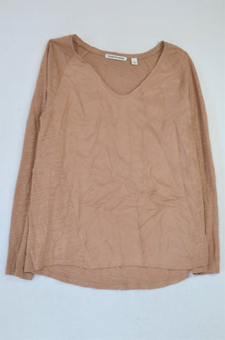 Country Road Dusty Brown Sateen Trim Top Women Size S