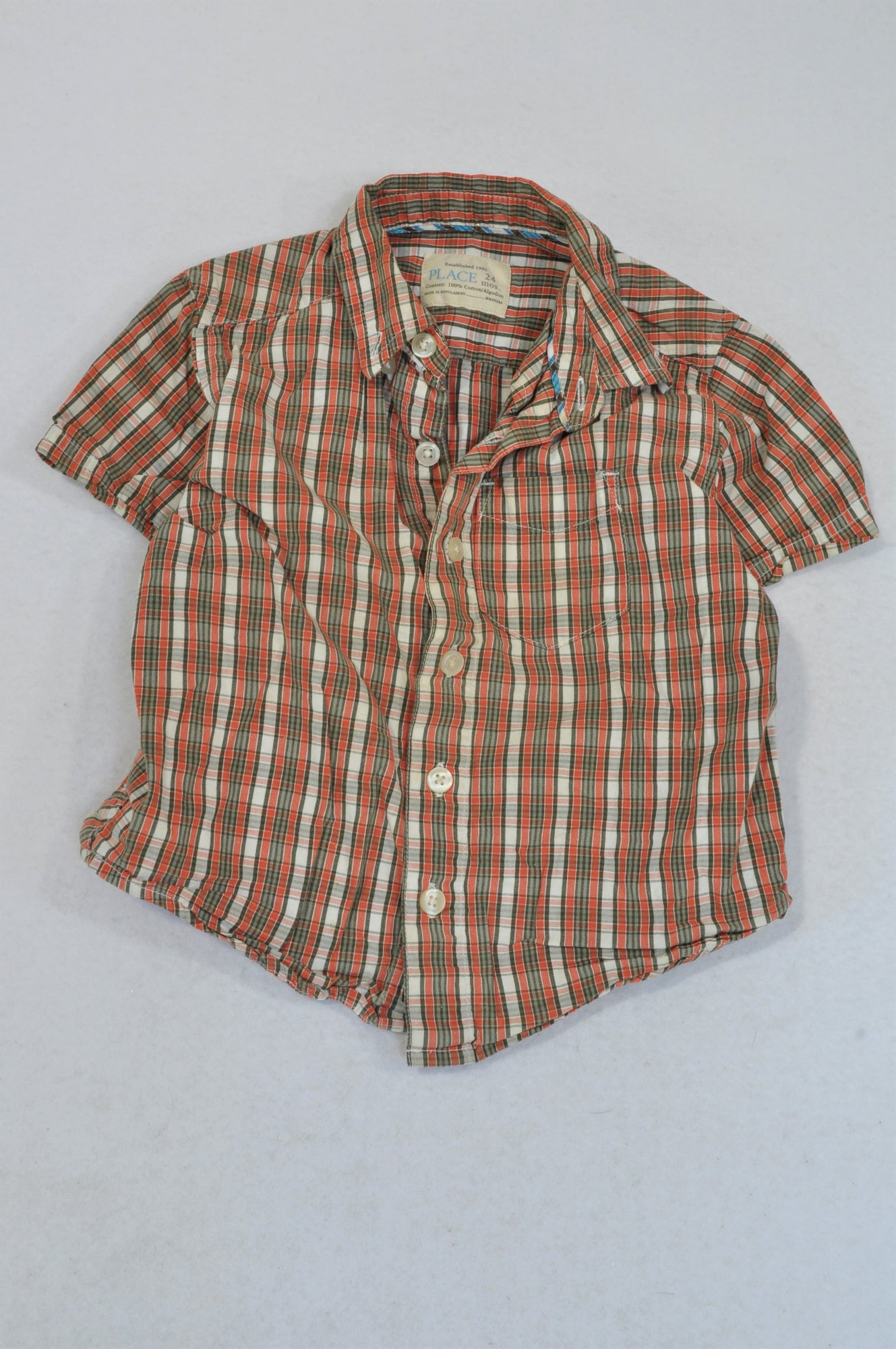PLACE Olive & Orange Check Button Shirt Boys 18-24 months