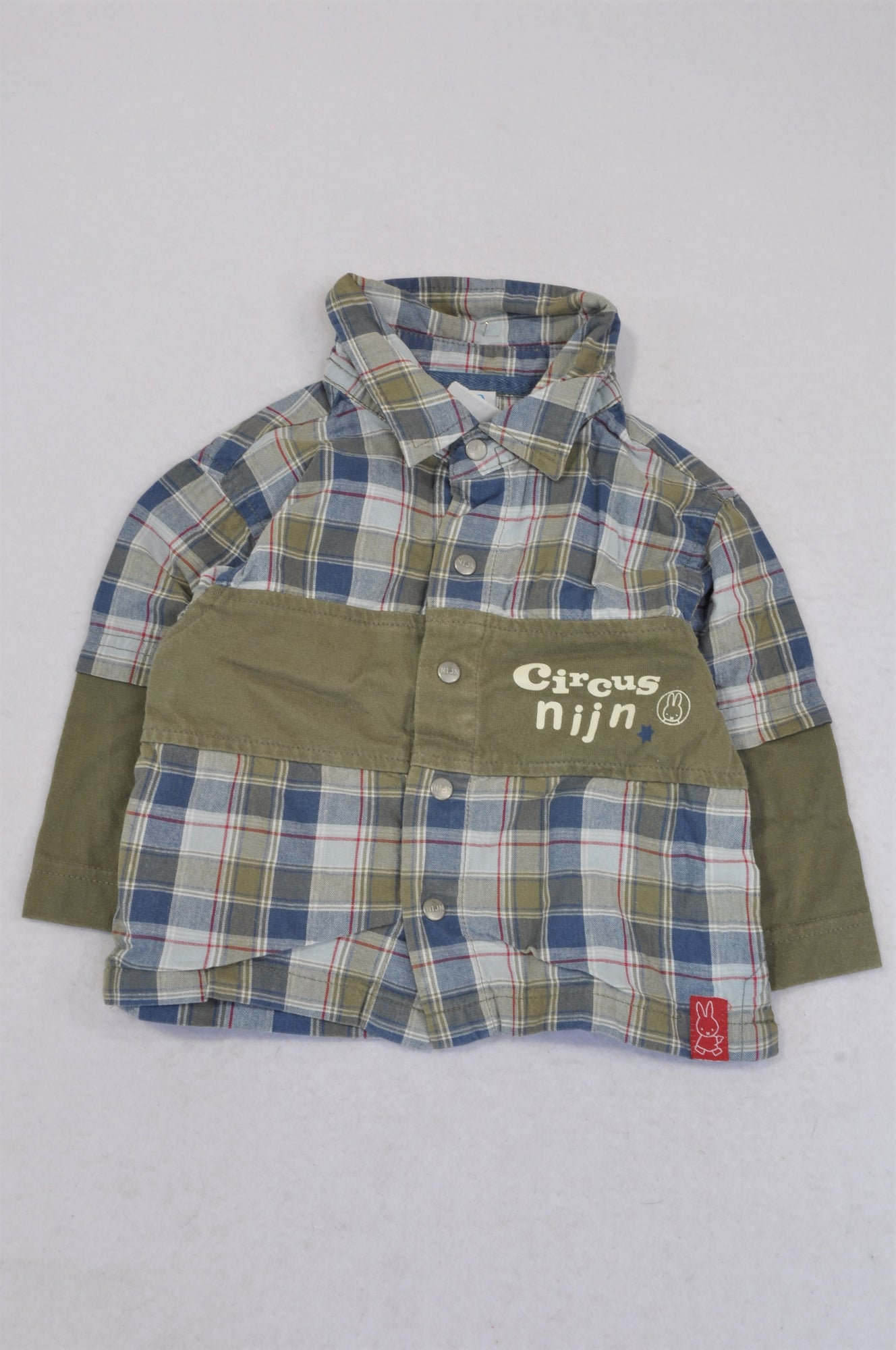 Nijn Olive & Blue Check Circus Shirt Boys 6-12 months
