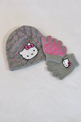 Woolworths Grey Hello Kitty Beanie & Mittens Girls 1-3 years