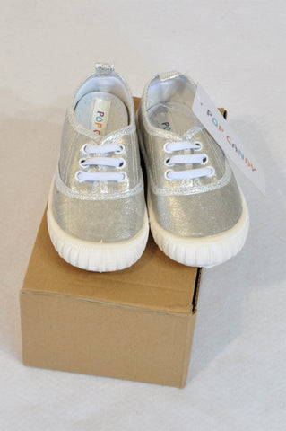 New Pop Candy Size 4 Silver Metallic Shoes Girls 12-18 months