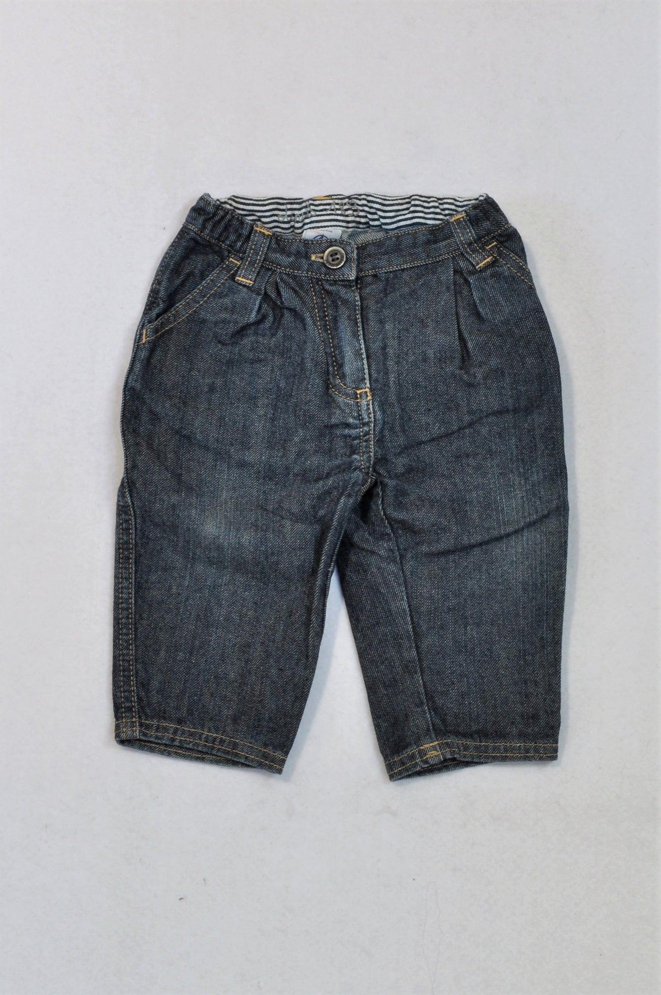 Petit Bateau Dark Washed, Light Stitched Jeans Boys 3-6 months