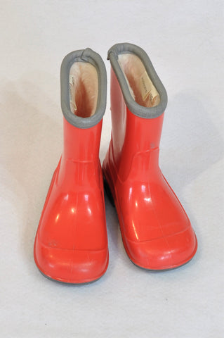 Woolworths Size 5 Red Fleece Lined Rain Boots Unisex 18-24 months
