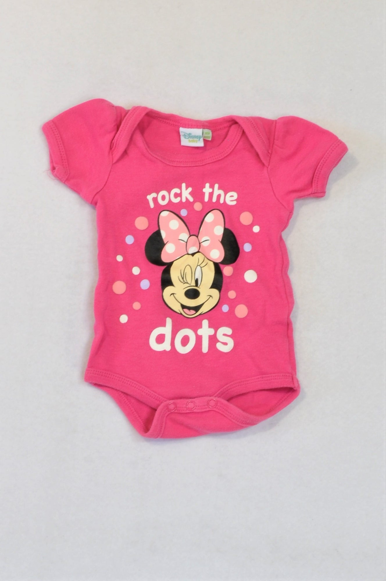 Disney Pink Minnie Mouse Rock The Dots Baby Grow Girls N-B