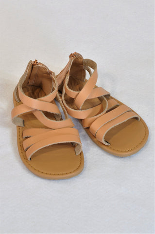 New Woolworths Size 8 Beige Strap Leather Sandals Girls 2-3 years