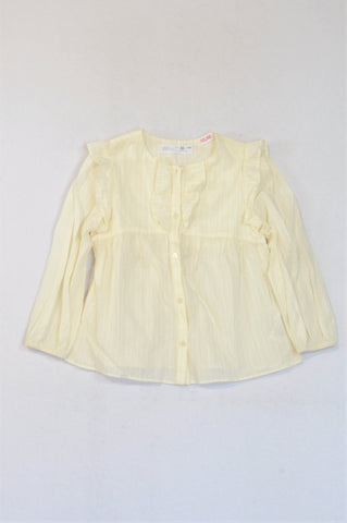 Zara Ivory Glitter Stripe Frill Blouse Girls 4-5 years
