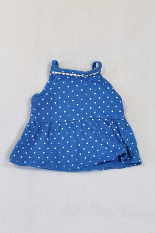Carter's Blue & White Dotted Baby Doll Top Girls 0-3 months