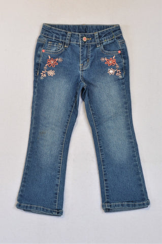 Woolworths Denim Flower Embroidered Jeans Girls 4-5 years