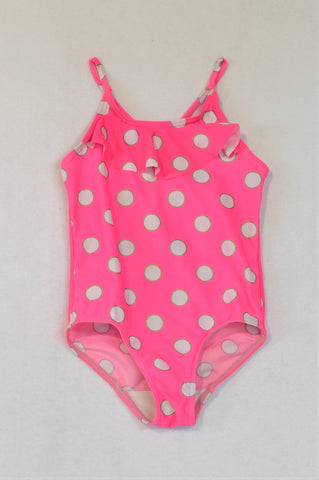 Woolworths Lumo Pink Frill Polka Dotty Swim Suit Girls 4-5 years