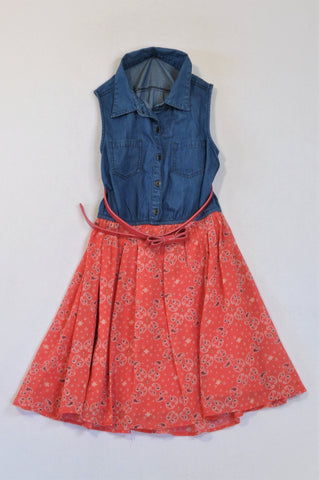 Woolworths Chambray Belted Pink Paisley Chiffon Dress Girls 11-12 years