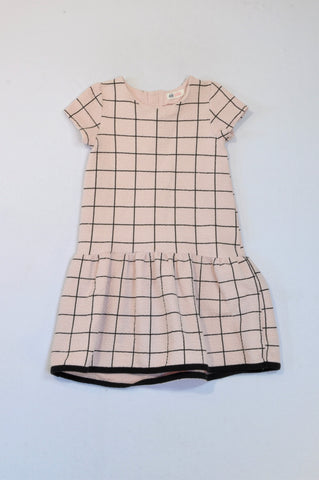 H&M Pink Black Check Textured Dress Girls 8-10 years
