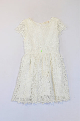 Zara White Flower Lace Overlay Dress Girls 9-10 years