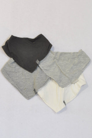 H&M 4 Pack White, Grey & Charcoal Bibs Unisex N-B to 1 year