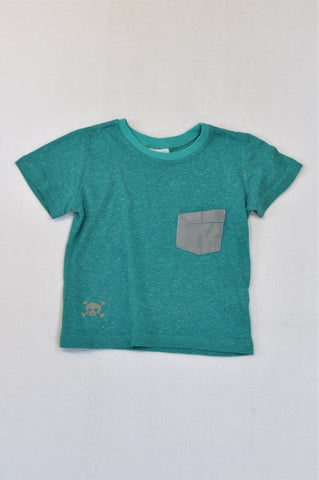 See-Saw Teal Heathered Grey Pocket T-shirt Boys 3-4 years