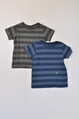 Woolworths Dusty Blue Stripe & Grey Striped T-Shirts Boys 3-4 years