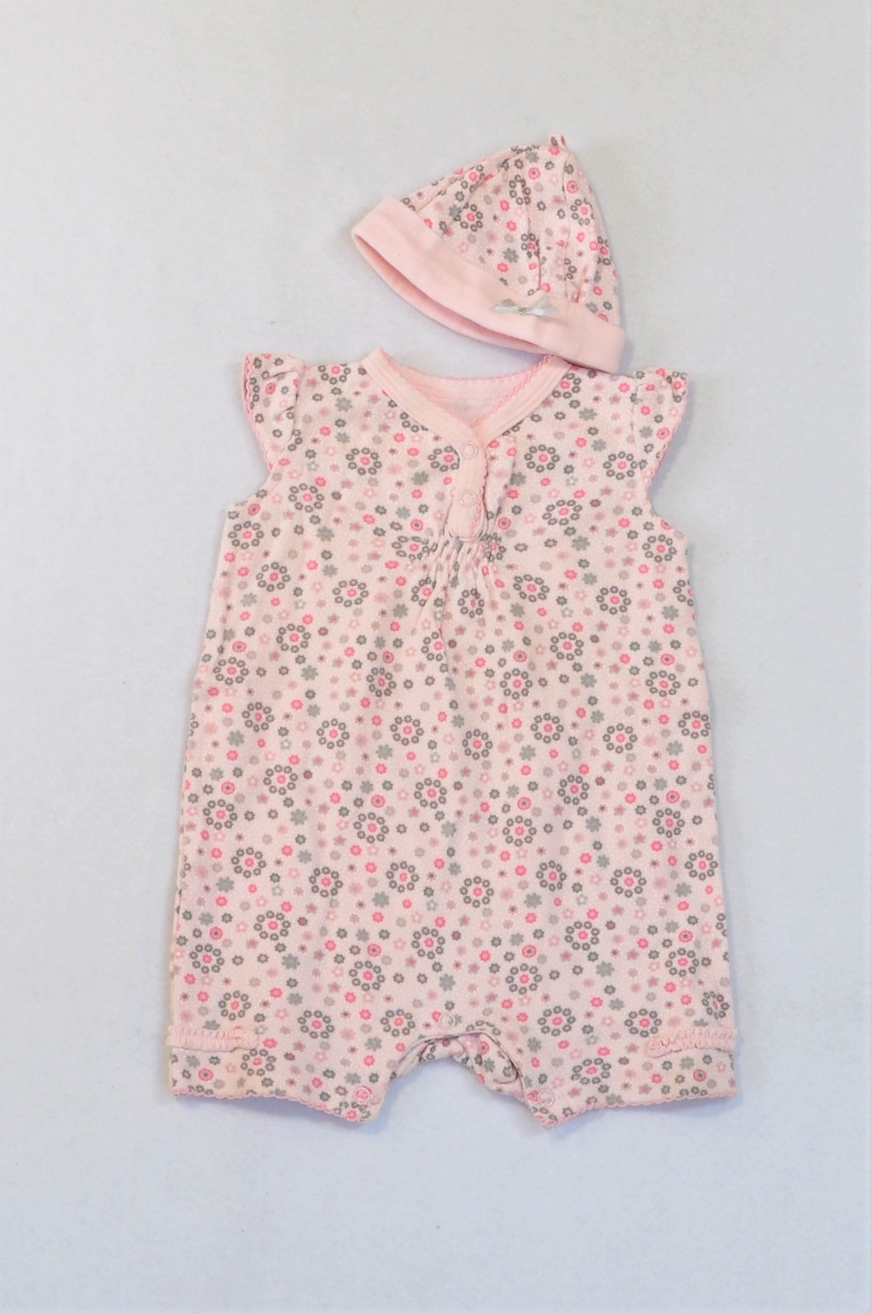 Woolworths Light Pink & Grey Ditsy Flower Romper & Beanie Outfit Girls N-B