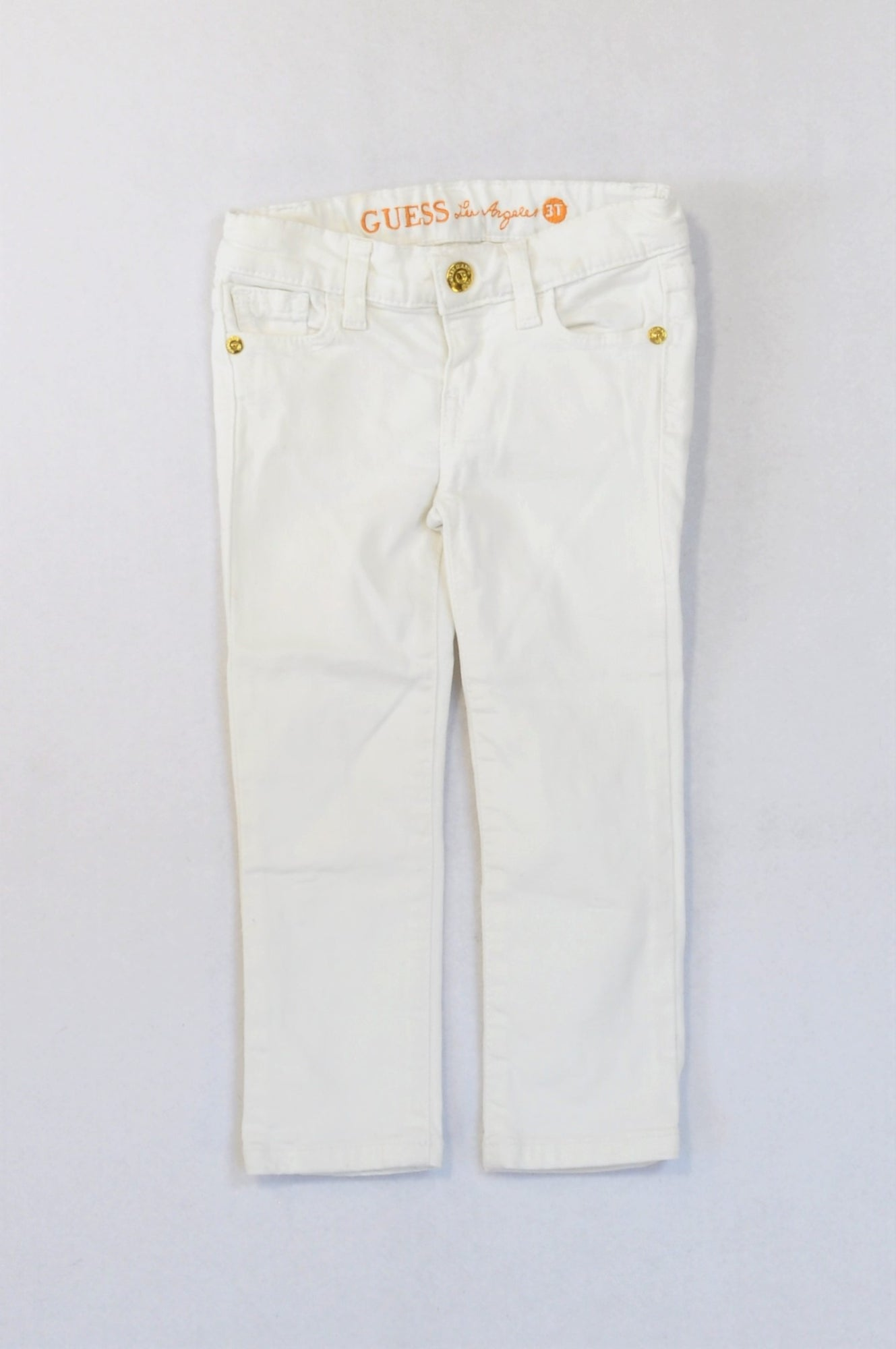 Guess White Sequin Pocket Jeans Girls 3-4 years