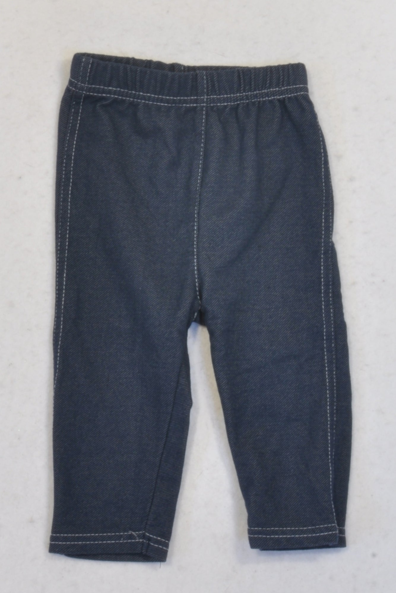 Ackermans Dark Blue White Stitched Jeggings Girls 3-6 months