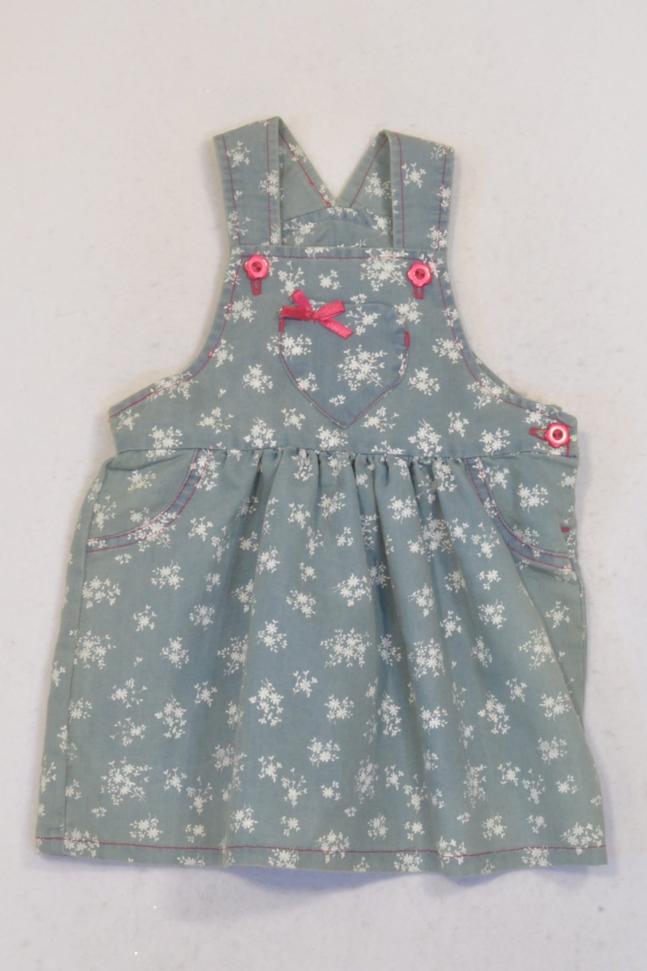 Ackermans Floral Lightweight Dungaree Dress Girls 12-18 months