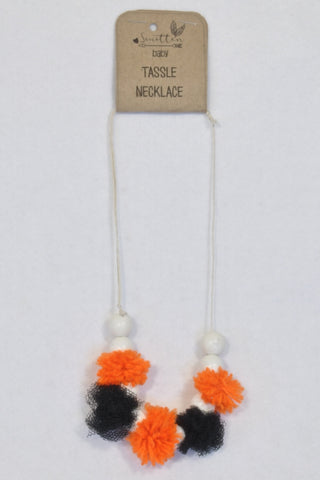 New Smitten Ever After Orange & Black Pom Pom Beaded Necklace Accessory Girls 4-10 years