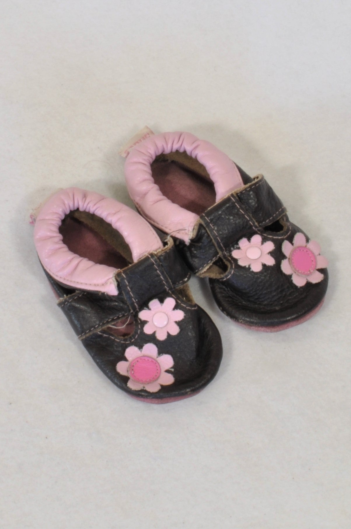 Shooshoos Size 1 Brown Flower Shoes Girls 3-6 months