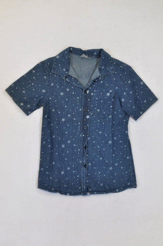 Revolution Chambray Star Print Shirt Boys 9-10 years