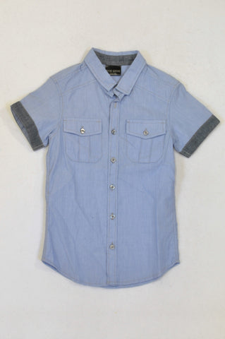 New Wave Blue Pinstripe Eagle Print Shirt Boys 9-10 years