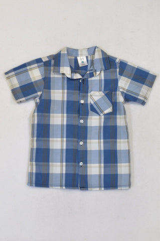 Jet Blue & Olive Plaid Shirt Boys 5-6 years