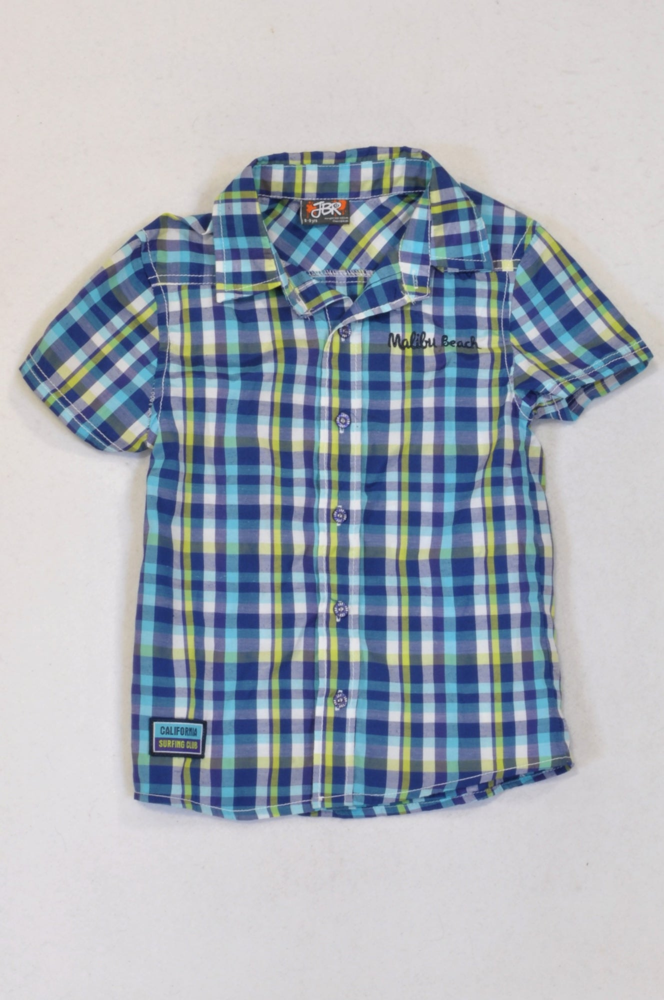 JBR Blue & Green Check malibu Shirt Boys 8-9 years