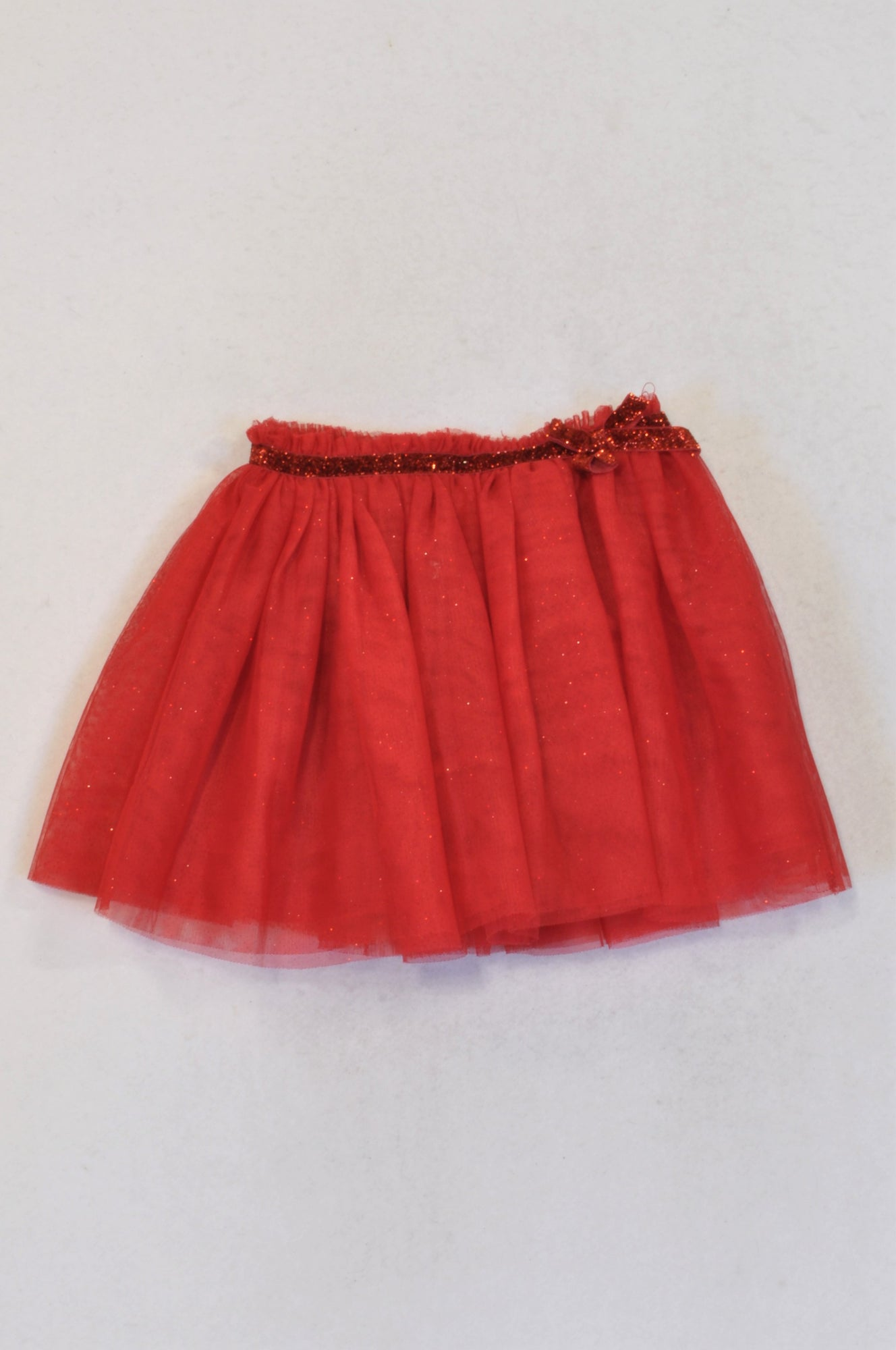 H&M Red Glitter Tulle Puffy Skirt Girls 2-3 years