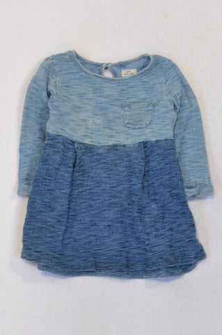 Next Blue Panel Ombre Dress Girls 2-3 years