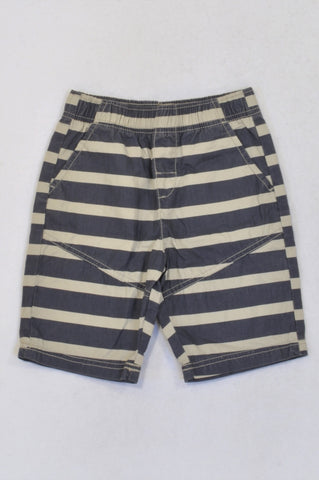 Woolworths Blue & Beige Striped Shorts Boys 5-6 years