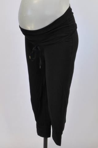 H&M Black Drawstring 3/4 Maternity Pants Size S