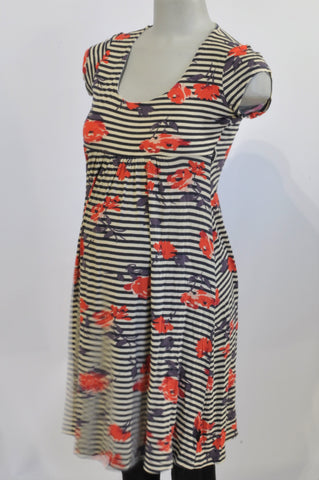 Cherrymelon Navy Stripe Floral Maternity Dress Size 10