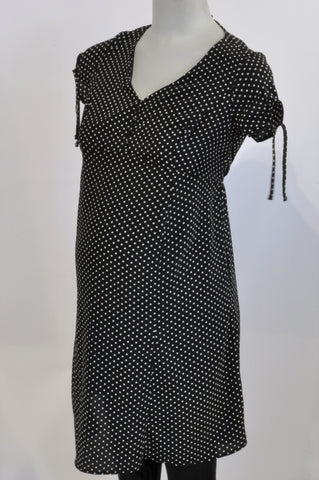 New Cherrymelon Black Lightweight Dotty Maternity Dress Size 8