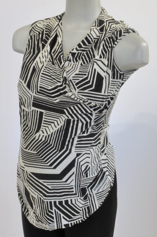 Meamama Black & White Striped Tunic Maternity Top Size L
