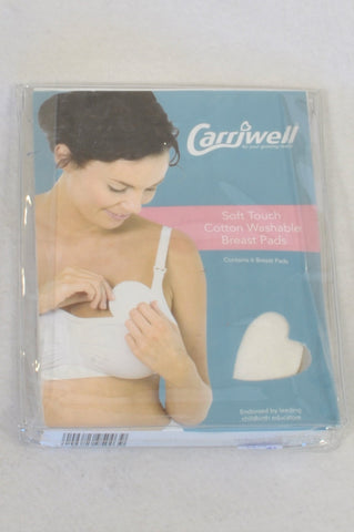 New Carriwell Soft Touch Cotton Washable Breast Pads Maternity Accessory One Size