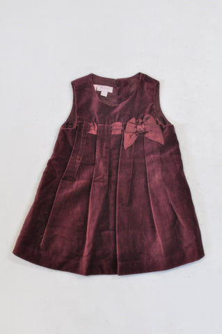 Monsoon Wine Pleated Velour Dress Girls 3-6 months