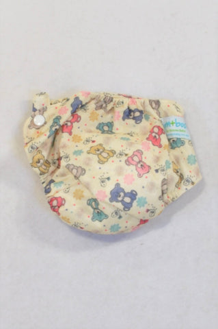 New Bam+Boo Beige Pretty Bears All-in-One Cloth Nappy Girls N-B to 6 months