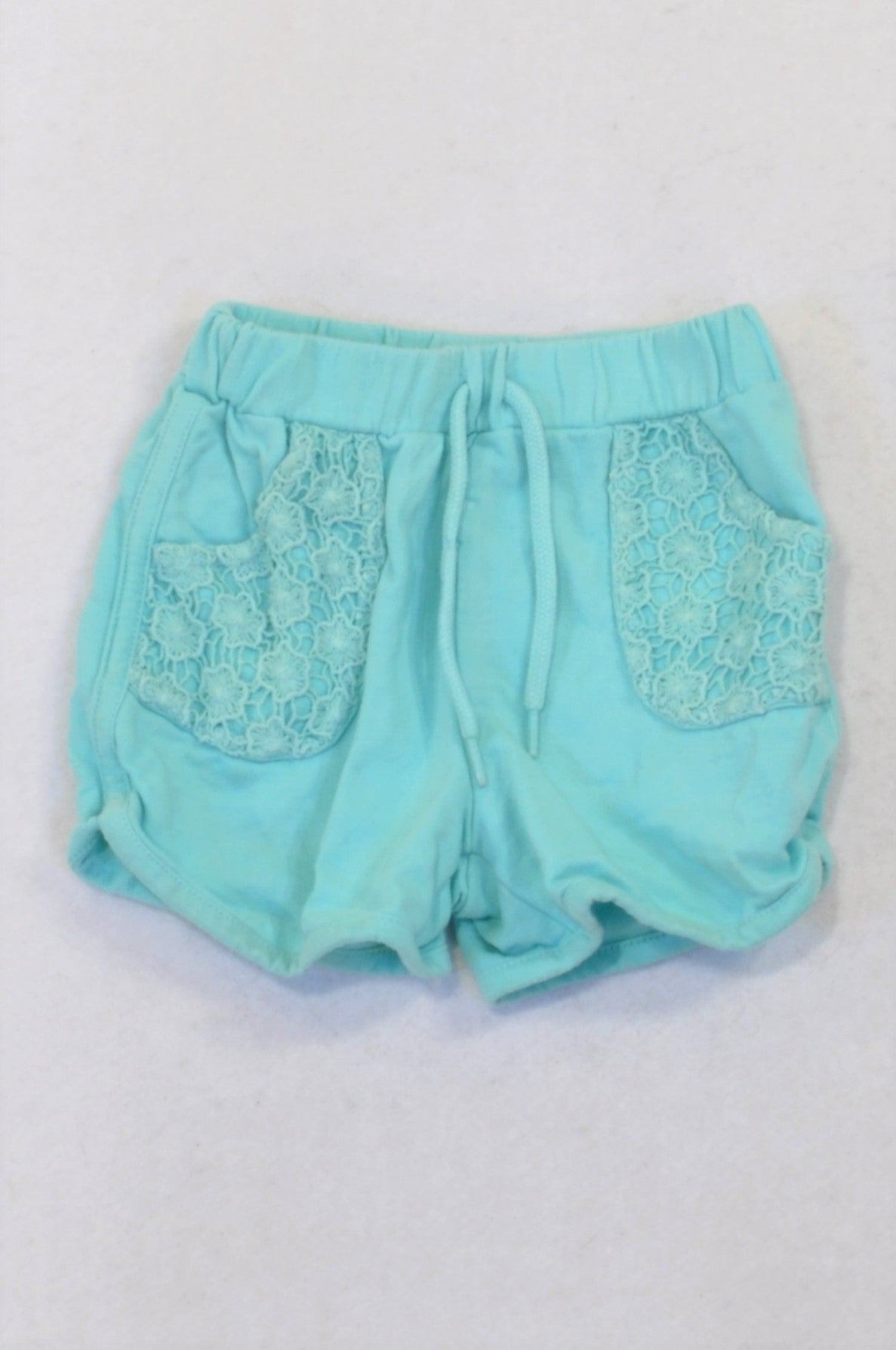 Woolworths Aqua Embroidered Pocket Detail Shorts Girls 6-12 months
