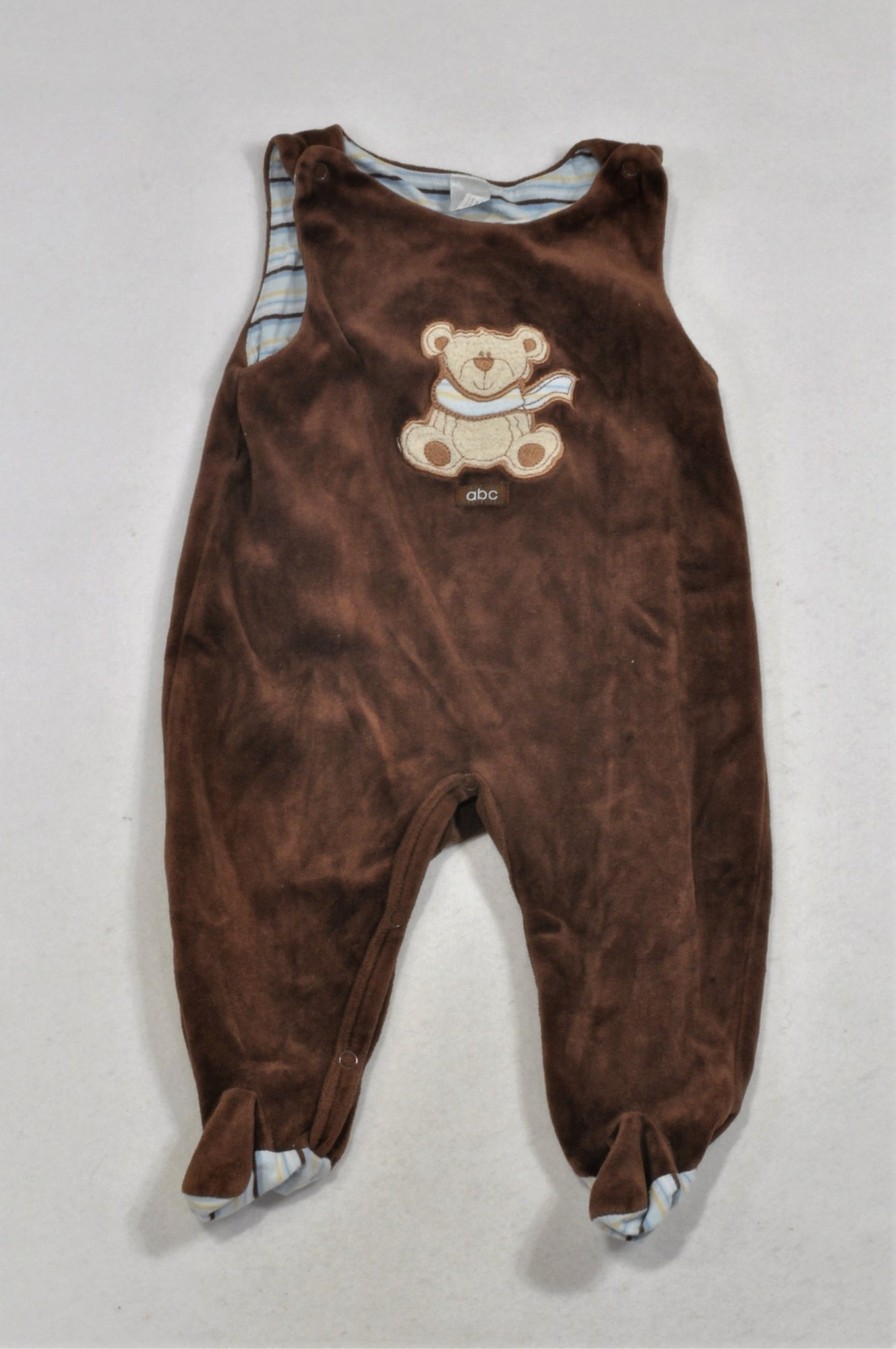 Ackermans Brown Velour Bear Dungarees Boys 3-6 months