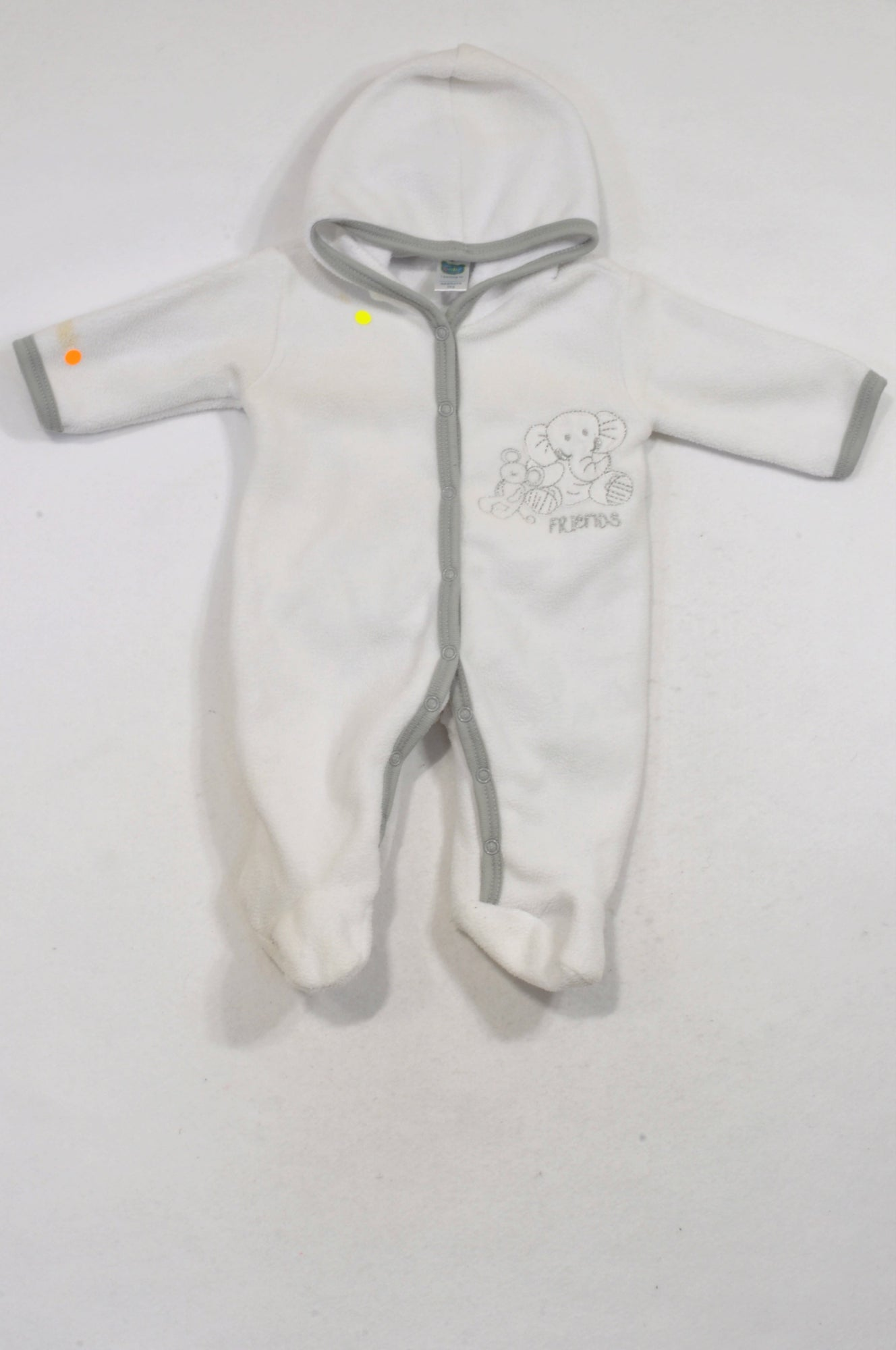 Ackermans White Fleece Grey Trimmed Friends Onesie Unisex N-B