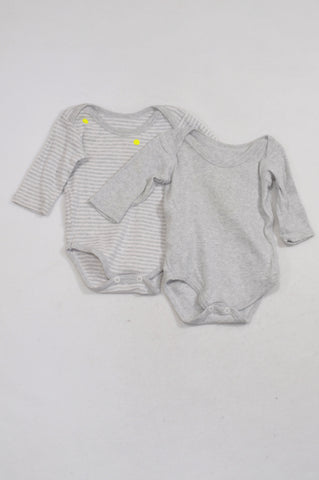 Woolworths Two Pack Grey Long Sleeve Baby Grow Unisex 0-3 months