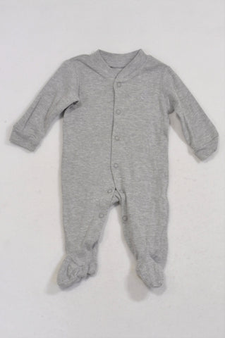 Woolworths Basic Grey Embroidered Bear Onesie Unisex N-B