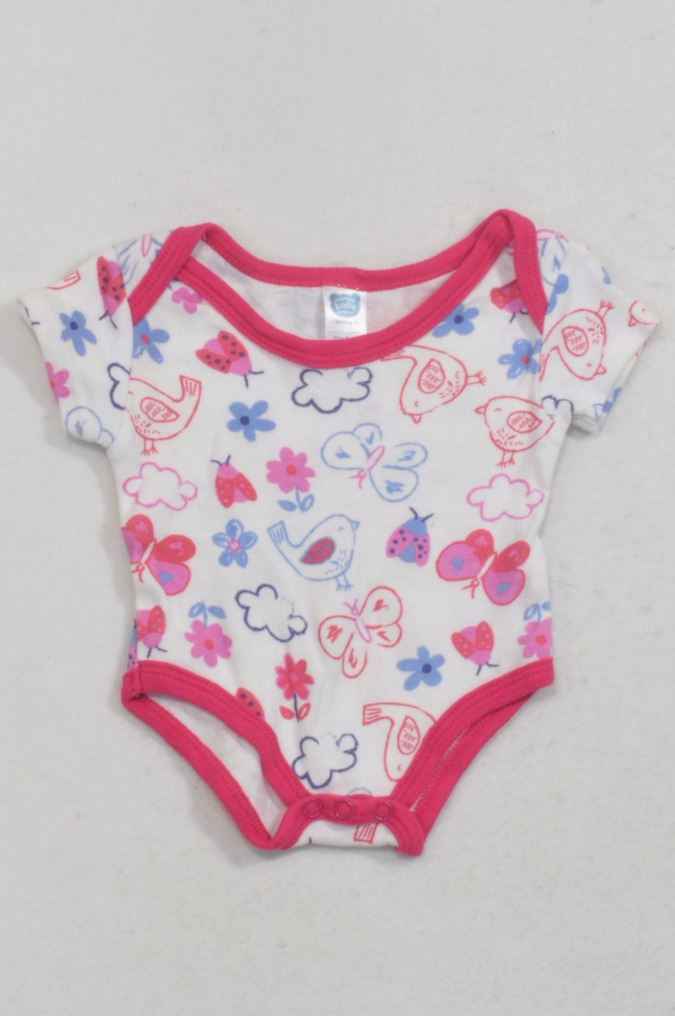 Ackermans White & Pink Birdie Butterfly Baby Grow Girls Tiny Baby
