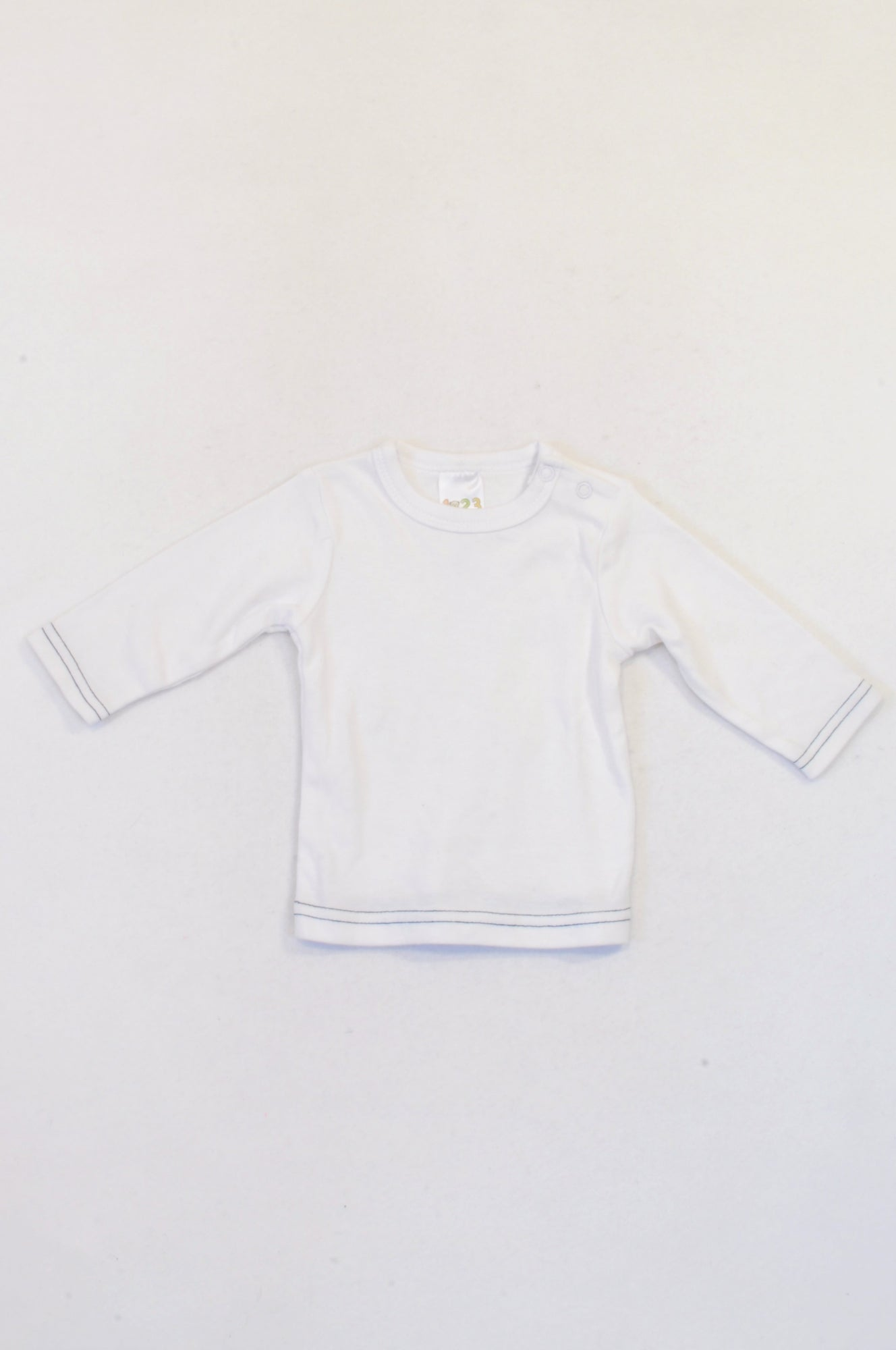 Edgars White Navy Trim Long Sleeved T-shirt Boys 0-3 months